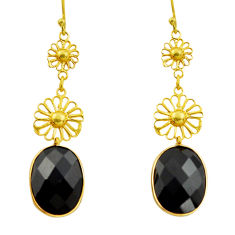 12.59cts natural black onyx 925 sterling silver 14k gold dangle earrings r32512