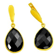 19.98cts natural black onyx 925 sterling silver 14k gold dangle earrings r32525