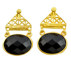 20.28cts natural black onyx 925 sterling silver 14k gold dangle earrings r32742