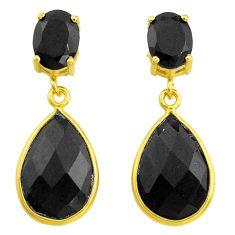 13.13cts natural black onyx 925 silver 14k gold handmade dangle earrings t44237
