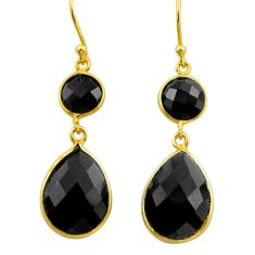 15.20cts natural black onyx 925 sterling silver 14k gold earrings jewelry r33323