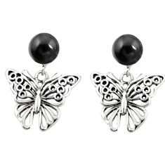Natural black onyx 925 sterling silver butterfly earrings jewelry c11685