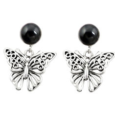 Natural black onyx 925 sterling silver butterfly earrings jewelry c11687