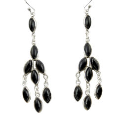 13.61cts natural black onyx 925 sterling silver chandelier earrings d47547