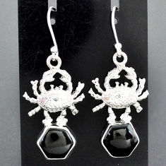 9.03cts natural black onyx 925 sterling silver crab earrings jewelry r96781