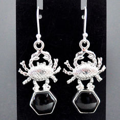 8.44cts natural black onyx 925 sterling silver crab earrings jewelry r96801