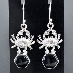 8.76cts natural black onyx 925 sterling silver crab earrings jewelry r96805