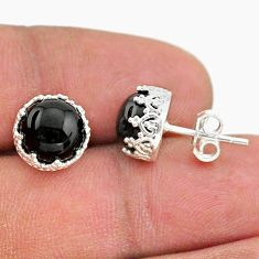 6.27cts natural black onyx 925 sterling silver crown stud earrings t43688