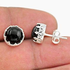 6.68cts natural black onyx 925 sterling silver crown stud earrings t43710