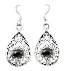 Natural black onyx 925 sterling silver dangle earrings jewelry c11561