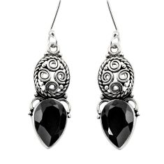 8.31cts natural black onyx 925 sterling silver dangle earrings jewelry d40492