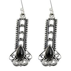4.40cts natural black onyx 925 sterling silver dangle earrings jewelry d41161