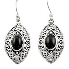4.38cts natural black onyx 925 sterling silver dangle earrings jewelry d46849