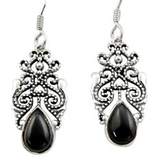 5.16cts natural black onyx 925 sterling silver dangle earrings jewelry d46887