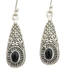 3.28cts natural black onyx 925 sterling silver dangle earrings jewelry d46963