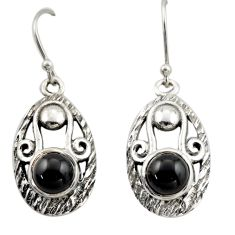 4.21cts natural black onyx 925 sterling silver dangle earrings jewelry d46985