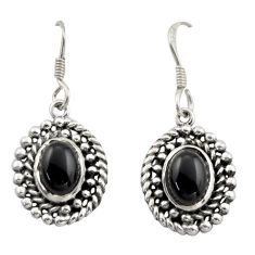 4.38cts natural black onyx 925 sterling silver dangle earrings jewelry d46991