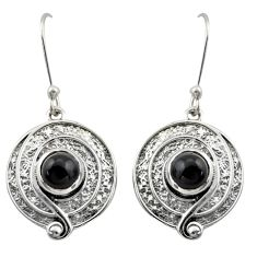 2.19cts natural black onyx 925 sterling silver dangle earrings jewelry d47022