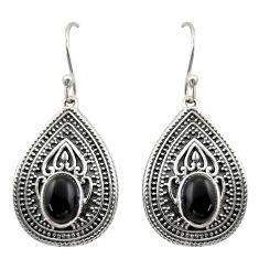 4.38cts natural black onyx 925 sterling silver dangle earrings jewelry d47042