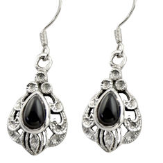 4.52cts natural black onyx 925 sterling silver dangle earrings jewelry d47070