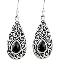 4.38cts natural black onyx 925 sterling silver dangle earrings jewelry d47092