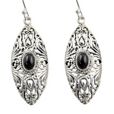 3.41cts natural black onyx 925 sterling silver dangle earrings jewelry d47141