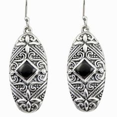 4.13cts natural black onyx 925 sterling silver dangle earrings jewelry d47143