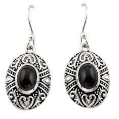 4.37cts natural black onyx 925 sterling silver dangle earrings jewelry d47561