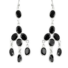 15.86cts natural black onyx 925 sterling silver dangle earrings jewelry r33159