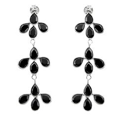 13.49cts natural black onyx 925 sterling silver dangle earrings jewelry r33196