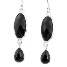 10.89cts natural black onyx 925 sterling silver dangle earrings jewelry r68221