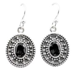 3.47cts natural black onyx 925 sterling silver dangle earrings jewelry t30162