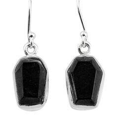 9.25cts natural black onyx 925 sterling silver dangle earrings jewelry t3672