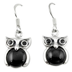 Natural black onyx 925 sterling silver owl earrings jewelry a64455 c14320