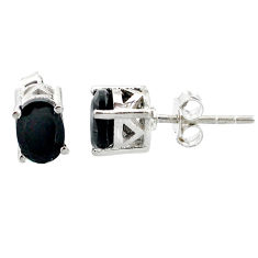 3.59cts natural black onyx 925 sterling silver stud earrings jewelry r87389