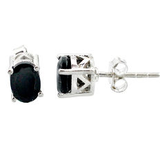 3.36cts natural black onyx 925 sterling silver stud earrings jewelry r87456