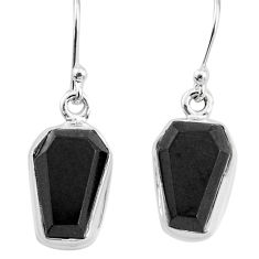 9.25cts natural black onyx 925 sterling silver handmade dangle earrings t3707
