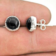 5.47cts natural black onyx 925 sterling silver stud earrings jewelry t43756
