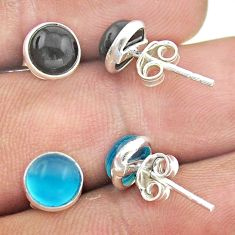 5.46cts natural black onyx chalcedony 925 silver 2 pair studs earrings t52392