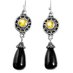 17.42cts natural black onyx citrine 925 sterling silver dangle earrings r59852