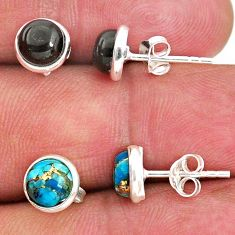 4.67cts natural black onyx copper turquoise 925 silver stud earrings r65521