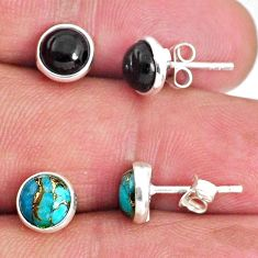 4.97cts natural black onyx copper turquoise 925 silver stud earrings r65523