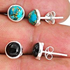 4.88cts natural black onyx copper turquoise 925 silver stud earrings r65531