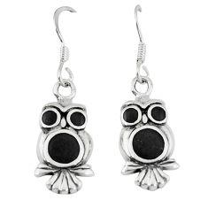 4.68gms natural black onyx enamel 925 sterling silver owl earrings a46356 c14355