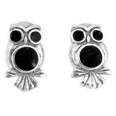 4.28gms natural black onyx enamel 925 sterling silver owl earrings a46380 c14357