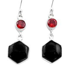 Clearance Sale- 12.52cts natural black onyx hexagon garnet 925 silver dangle earrings t47982