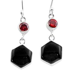 Clearance Sale- 12.47cts natural black onyx hexagon garnet 925 silver dangle earrings t47985