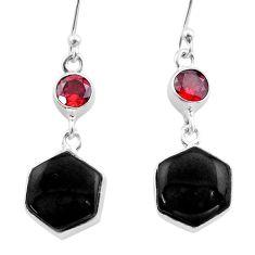 Clearance Sale- 12.39cts natural black onyx hexagon garnet 925 silver dangle earrings t47989