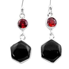 Clearance Sale- 12.30cts natural black onyx hexagon garnet 925 silver dangle earrings t47998