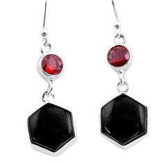 12.83cts natural black onyx hexagon red garnet silver dangle earrings t47991
